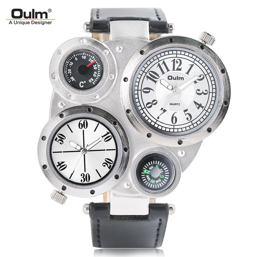 OULM 2017 Military Quartz Watch Men's Deco Compass Stylish Army Leather Strap Sp