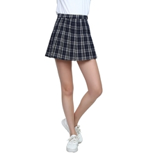 SJJH fashion Women A-line High Waist Skirts Ladies Plaid Pleated Zip Summer Tennis Mini Sweet School Girls