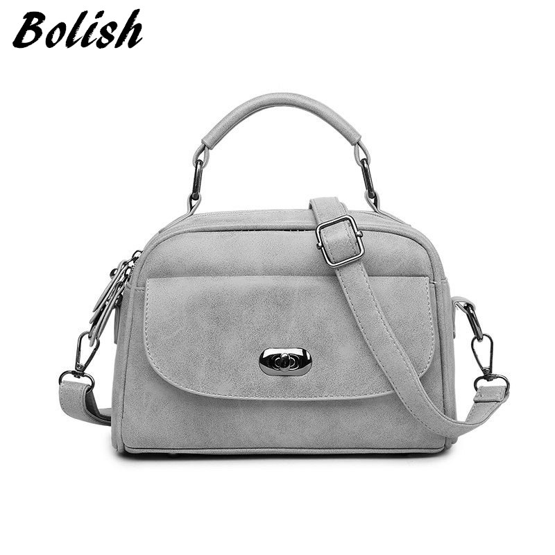 Bolish High Quality Numbuck Leather Women Top-Handle bag Fashion lock Women Shoulder Bag Shell Stlye Women Bag