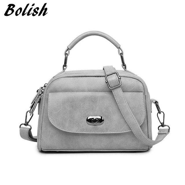 Bolish High Quality Numbuck Leather Women Top-Handle bag Fashion lock Women Shoulder Bag Shell Stlye Women Bag