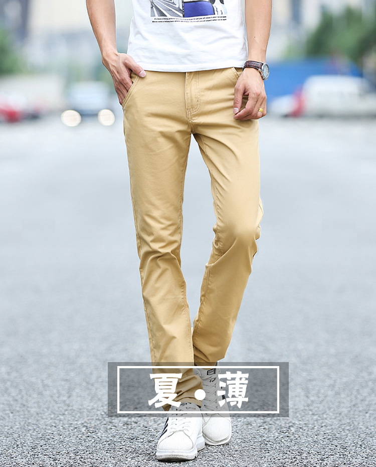 Business Casual Pants 11 Colors New Casual Pencil Pants Men Slim Pant Straight Trousers Solid Leisure Zipper Spring Summer k919 14