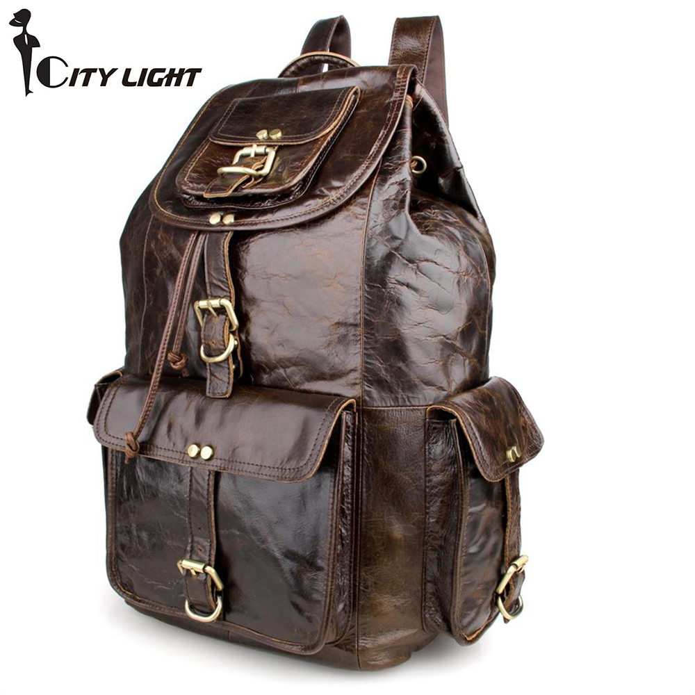 New 2016 fashion unisex backpack vintage cow leather backpack school bag men's travel bags large capacity travel backpack