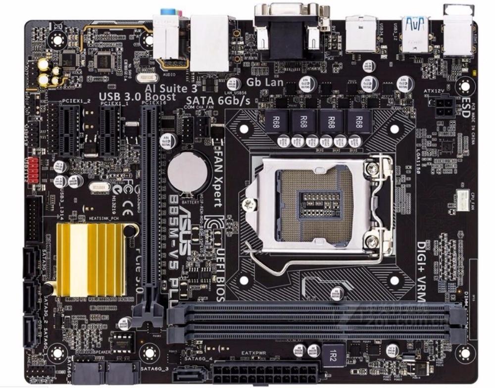original Asus B85M-V5 PLUS Desktop Motherboard B85 Socket LGA 1150 i7 i5 i3 DDR3 16G SATA3 Micro-ATX free shipping . gigabyte ga b85m d3v a original used desktop motherboard b85m d3v a b85 lga 1150 i3 i5 i7 ddr3 16g micro atx