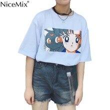 NiceMix Summer Casual Kawaii Cartoon T Shirt Women Harajuku T-shirts O-neck Tumblr Tshirt Loose Tops Tee Vetement Femme 2019