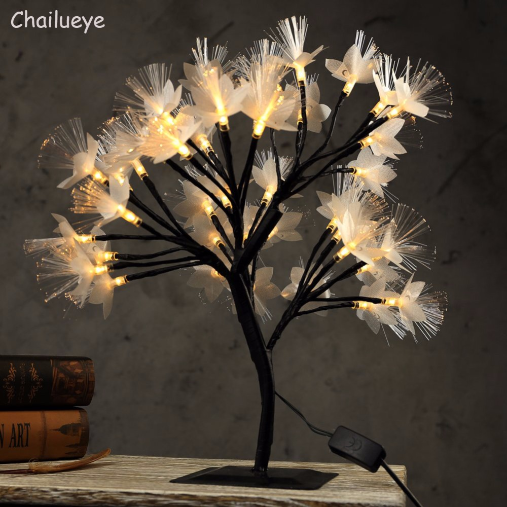 15in Led Cherry Tree Night Lights Luminarias Table Lamps Fairy Optical Fiber Christmas Party Indoor Home Decor Holiday Lighting
