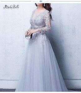 Image 3 - Modabelle szare suknie balowe 2019 szata wieczór Manche Longue A line tiul aplikacje Sexy formalna sukienka De Bal Longue
