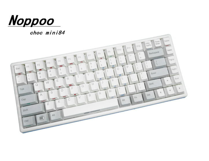 choc mini noppoo 84 pom black white pbt keycaps cherry mx wired