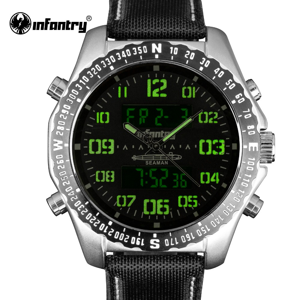 New Mens Watches Top Brand INFANTRY Luxury Men Quartz Watch Casual LED Digital Military Watches Male Clock Relogio Masculino