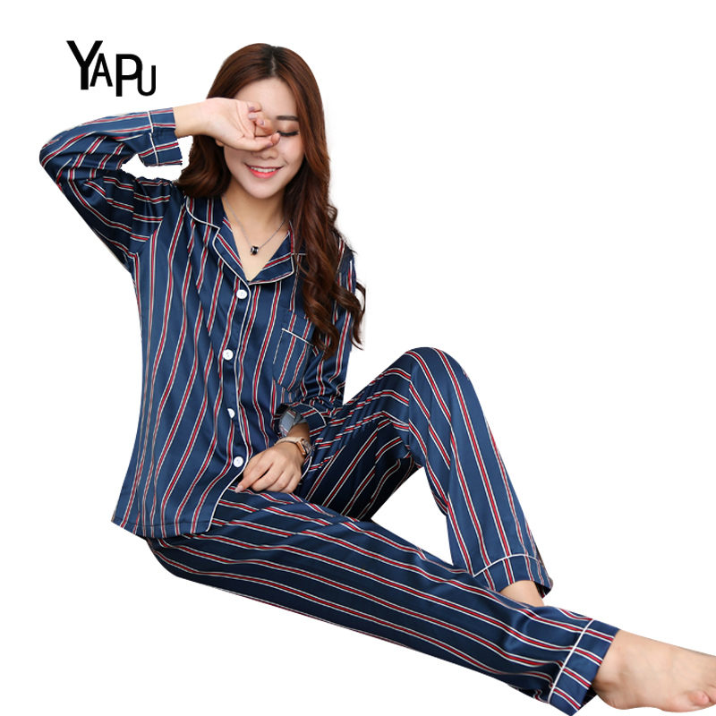 2018 Spring and Autumn fitted stripes comfortable silk sexy silk womens pajamas pajamas two sets of air-conditioned room home