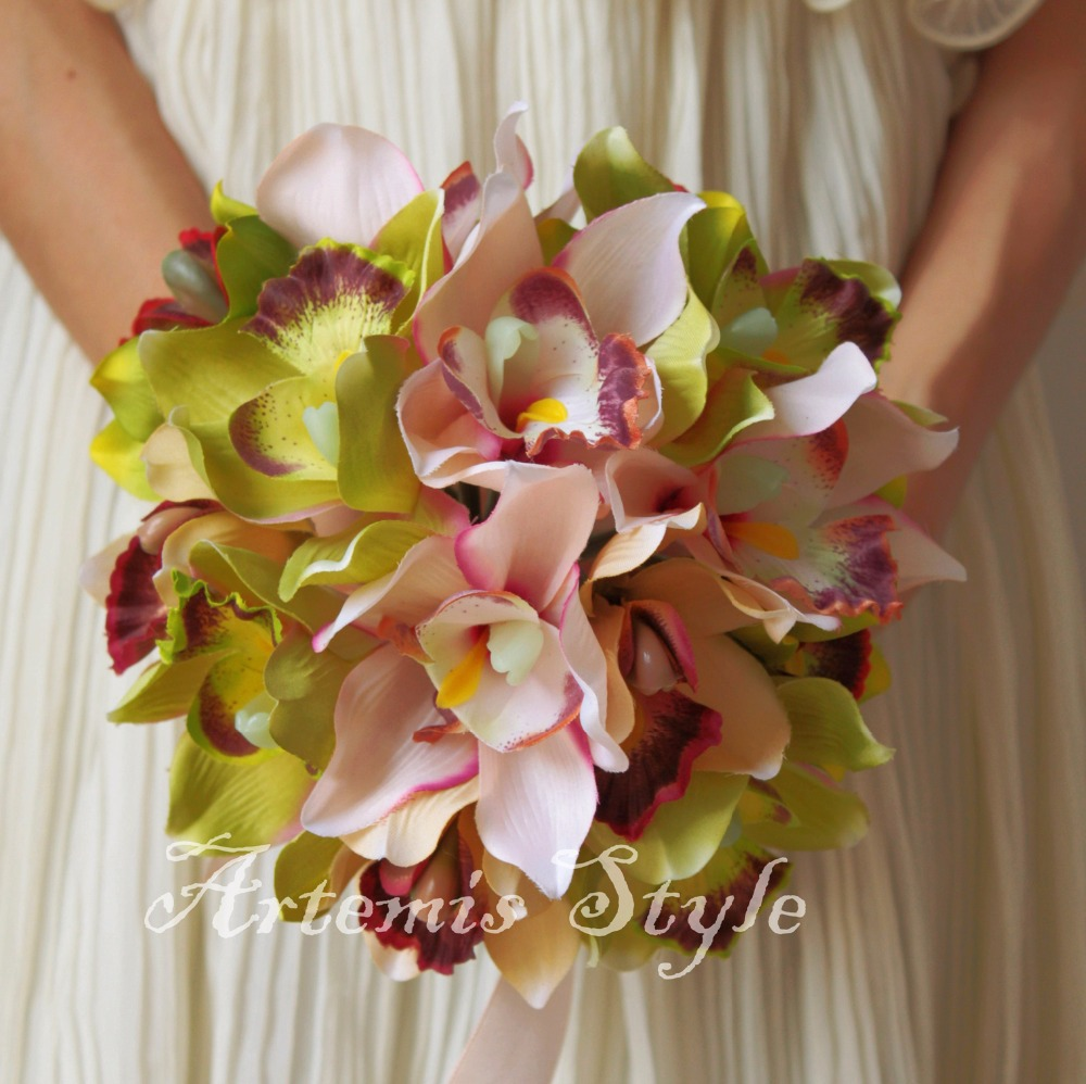 Bridal bouquet bridesmaid flowers wedding decoration beautiful bridal bouquet bridesmaid flowers wedding decoration beautiful artificial orchids pale pink green mixed cymbidium fall flores in artificial dried dhlflorist Choice Image
