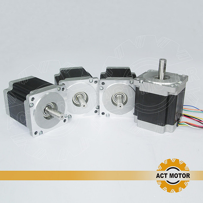 ACT Motor 4PCS Nema34 Stepper Motor 34HS9820 890oz-in 98mm 2A 8-Lead Single Shaft CE ISO ROHS Embriodery Plastic Grind Foam act motor 4pcs nema34 stepper motor 34hs9820 890oz in 98mm 2a 8 lead single shaft ce iso rohs plastic us ca de uk it fr jp free