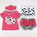Kids Cow Type Clothes Romper for Reborn Doll Clothes 4pcs/sets Baby Clothes Suits Doll DIY Clothes Babe Sleeping Dresses