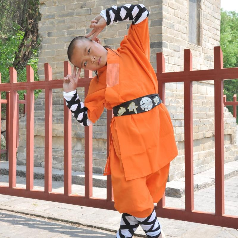 USHINE Professional Orange Shaolin Monk KungFu Uniforms Martial Arts WingChun Suit For Children Adult
