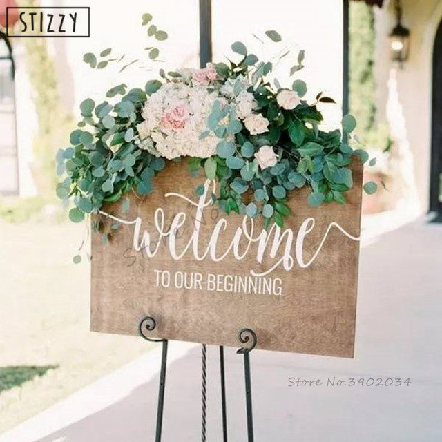US $8 4 |Aliexpress com : Buy STIZZY Wall Decal Quotes Welcome To Our  Beginning Wedding Wall Sticker For Wood Board Creative Married Party Logo  Decor