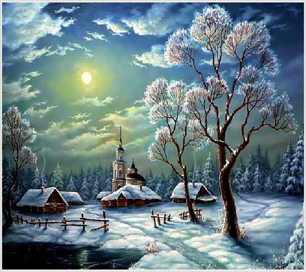 Paysage d'hiver plein posé diamant peinture broderie noël