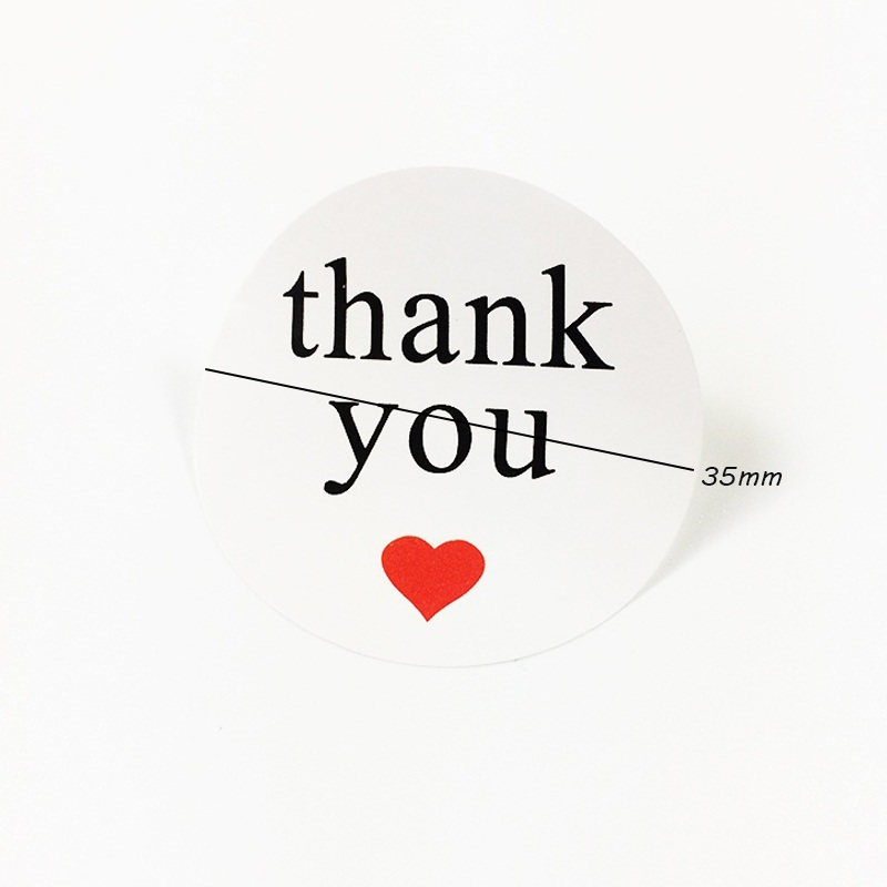 Купить с кэшбэком 120pcs/lot 'Thank You' White Botton Red Heart Seal Stickers Baking Package Decoration DIY Multifunction Gift Packaging Label