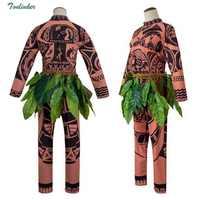 ผู้ใหญ่ Maui ชุดคอสเพลย์สำหรับชายฮาโลวีนเครื่องแต่งกาย Tattoo พิมพ์ด้านบนกางเกงเข็มขัดสำหรับผู้ใหญ่ Party ชุดเต็มชุด
