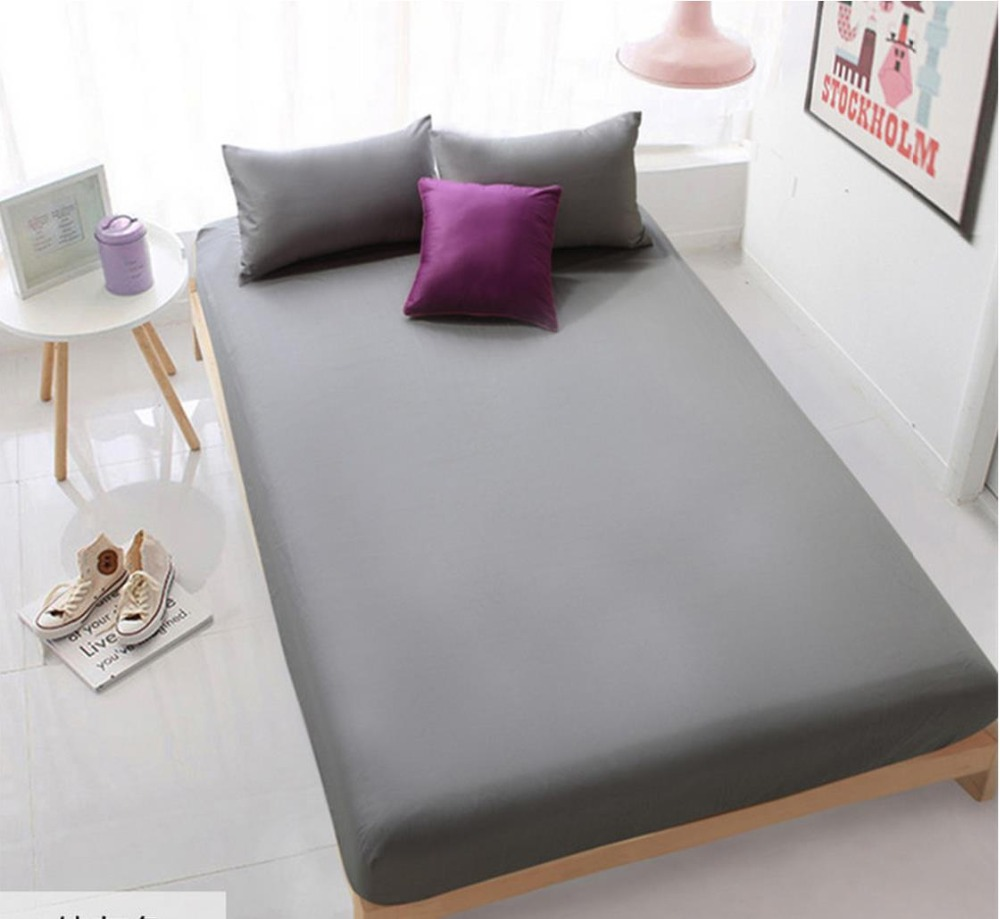 wholesale solid color sheets fitted bed sheet elastic mattress cover bed linen bedspread. Black Bedroom Furniture Sets. Home Design Ideas