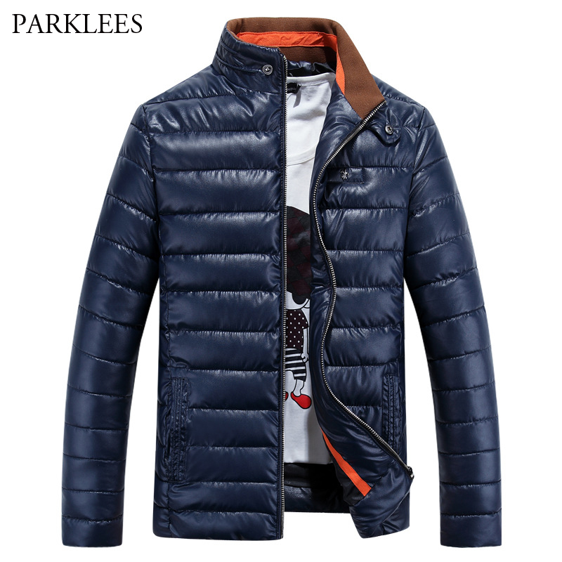 Winter Jacket Men 2017 Brand New Design Mens Cotton Padded Coat Casual Slim Fit PU Leather Manteau Homme Hiver Warm Overcoat 3XL