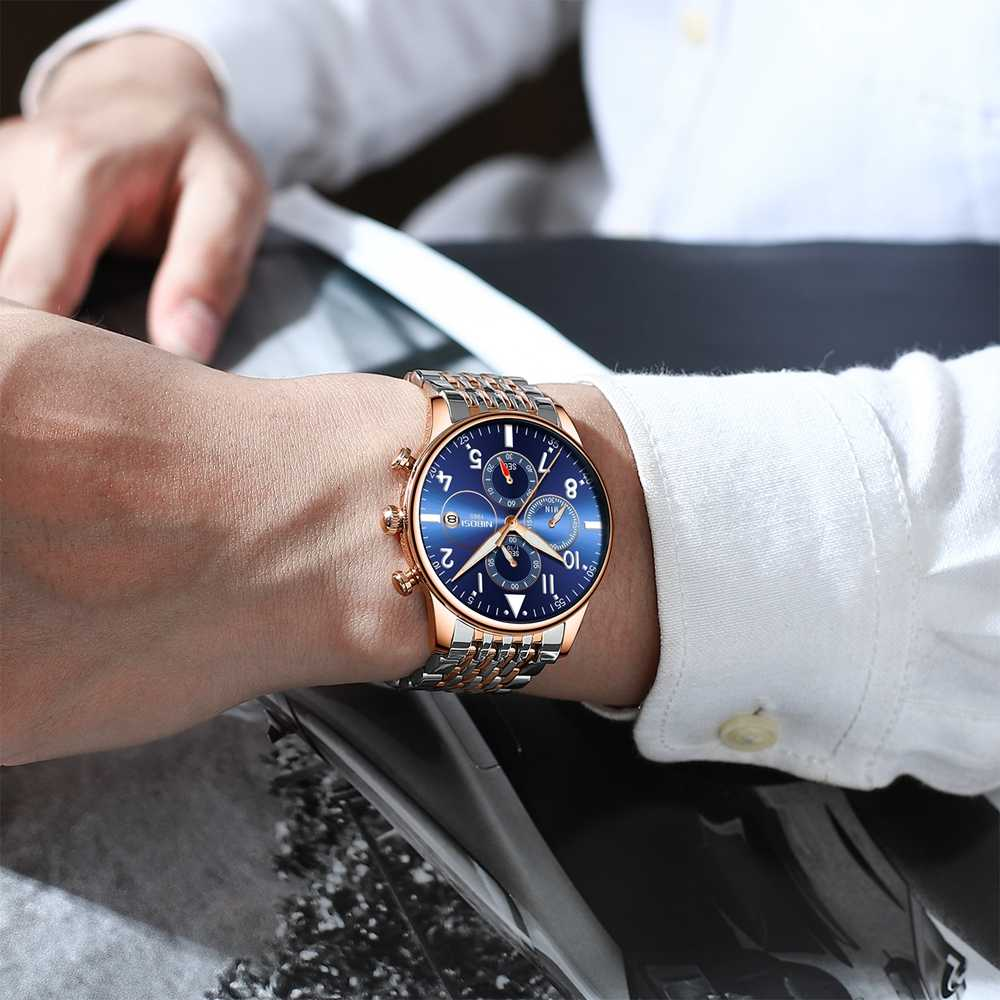 גברים שעונים NIBOSI למעלה מותג יוקרה הכרונוגרף ספורט קוורץ שעון גברים פלדה מזדמן עמיד למים שעוני יד Relogio Masculino