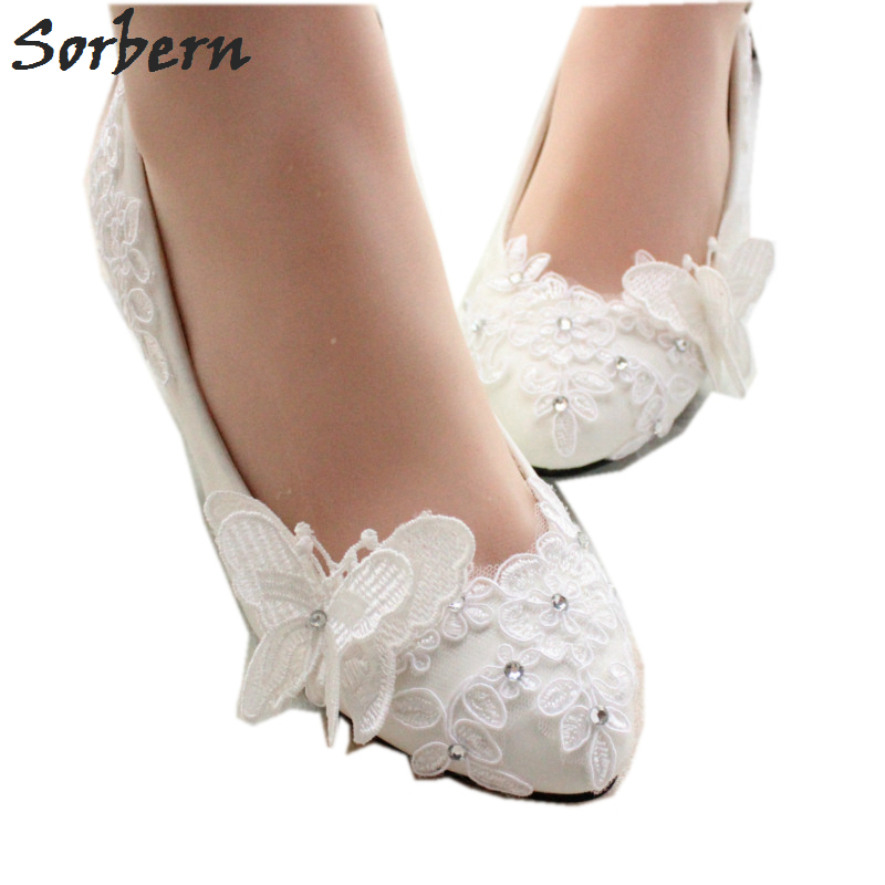 Sorbern Butterfly Flowers Flat Wedding Shoes Slip On Flat Shoes Women Off White Bridal Shoes Beaded