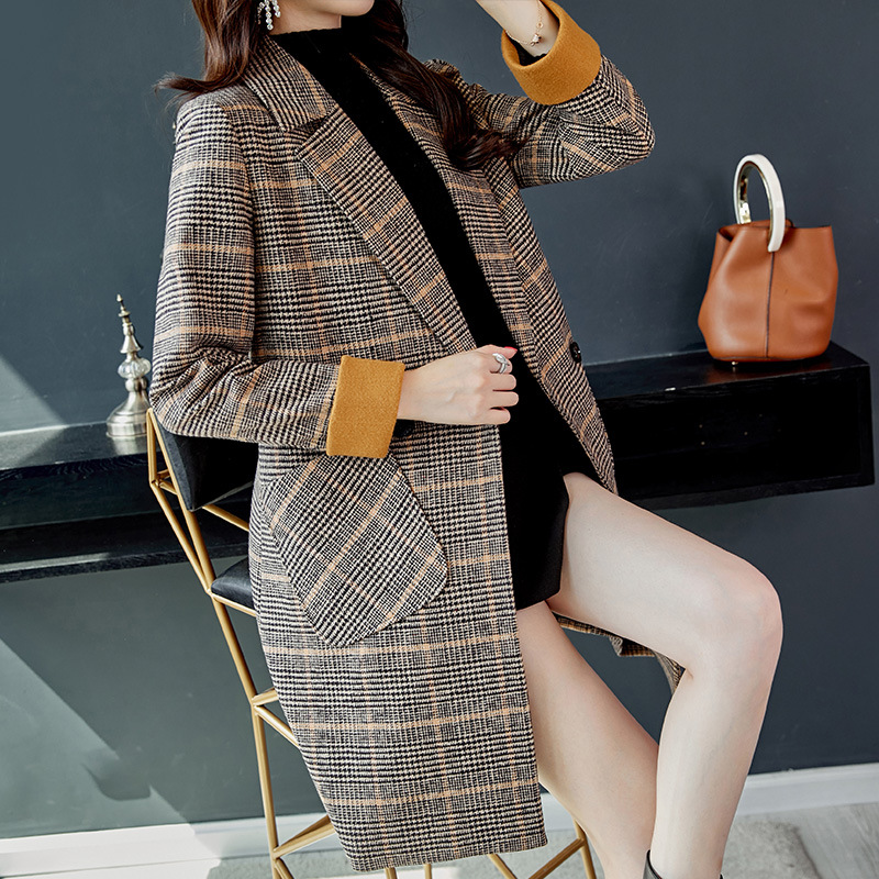 19 Autumn Winter Wool Women Plaid Pockets Blends Office Work Long Coats Fashion Brand Lady Slim Lapel Long Sleeve Blends Sexy 4