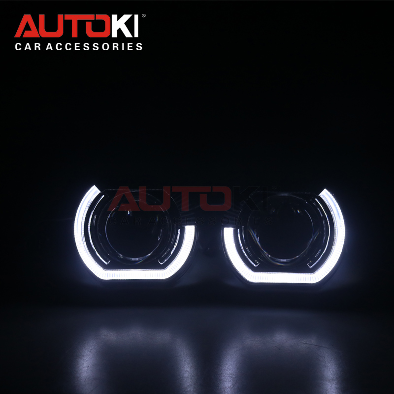 AUTOKI New 2018 Sport LED Angel Eyes+ Bi Xenon Lens Projector Headlight For Car Retrofit Daytime Running Light 2.5/3.0 H4 H7
