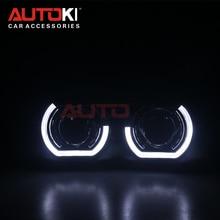 AUTOKI, новинка, спортивный, светодиодный, ангельские глазки+ би ксеноновые линзы, проектор, головной светильник для автомобиля, модифицированный, дневной, ходовой светильник 2,5/3,0 H4 H7