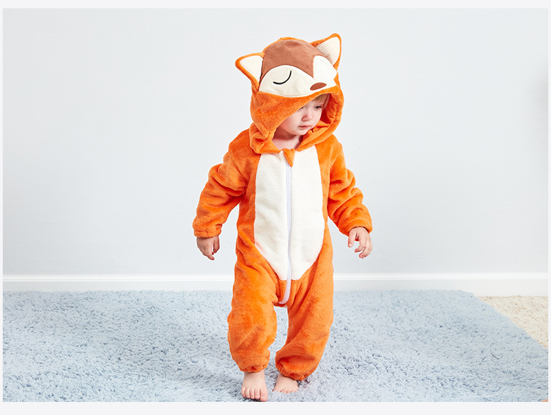 HTB1B3liR6DpK1RjSZFrq6y78VXaH Baby rompers new born baby girls clothes Hooded pajamas mameluco bebe warm winter animal costumes roupas de bebe dropshipping