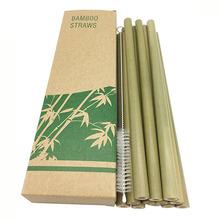 12pcs Natural Bamboo Straws Reusable organic drinking And straw cleaner brushes Eco-Friendly Party Kitchen Straw dropship