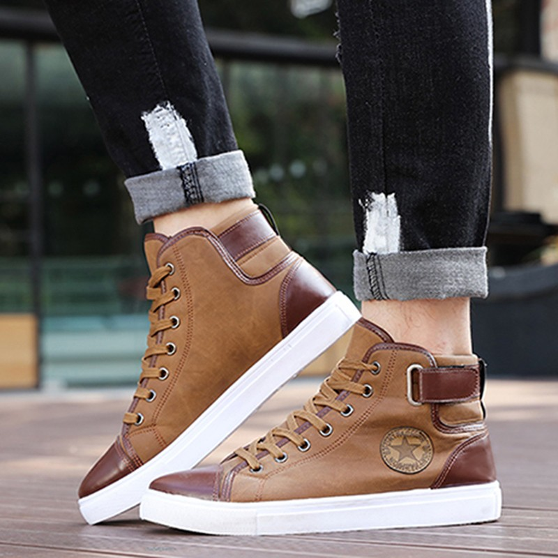 Spring Autumn Men Casual Shoes Ankle Length Men PU Leather Shoes Loafers Lace-Up High Pipe Men Flat Shoes Plus Size 45