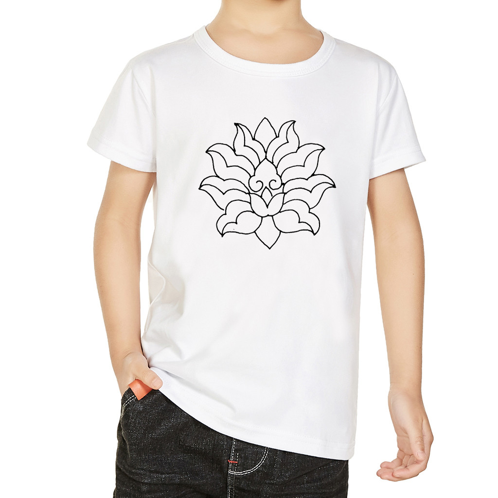 Girls Tops Short-Sleeve Kids Tshirt Children Clothes Funny Floral-Print Boys Summer