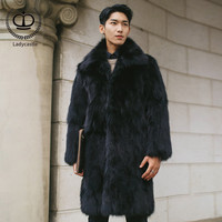 100cm X Long Winter Natural Real Fox Fur Coat Men Genuine Leather Fur Jacket With Turn down Collar Fox Fur Coat For Male FM 005
