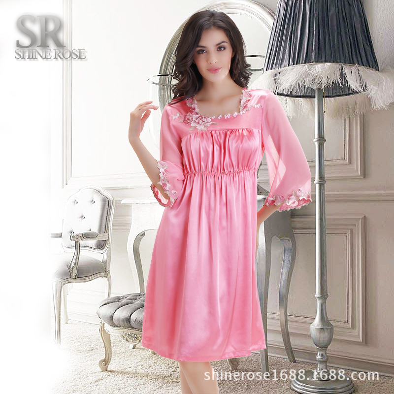Luxury Women Nightwear Satin Dressing Gown Faux Silk Robe Kimono ...