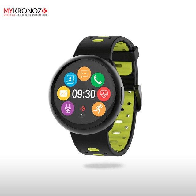 Смарт часы MyKronoz ZeRound2HR Premium цвет матовый черный, спортивный силиконовый ремешок цвет черный/салатовый
