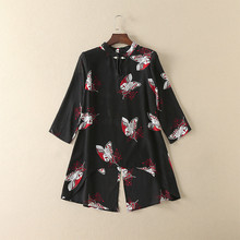 Europe style butterfly face anomaly shirt 2017 spring black fashion blouse S-XL size