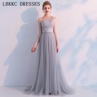 Vestido De Festa Grey One Shoulder Prom Dresses Tulle Crystals Gala Jurken Sleeveless Long Prom Dress Elegant Evening Dress