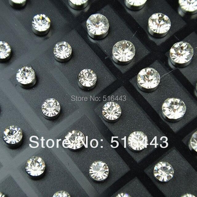 b9732b3f0013 A-263 216 unids checa Diamantes con piedras falsas moda Acero inoxidable  Pendientes de broche