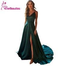 Side Slit Evening Dress Long 2019 Robe De Soiree V-Neck Elegant Formal Dress Spaghetti Straps Vestido De Festa Abiye цена