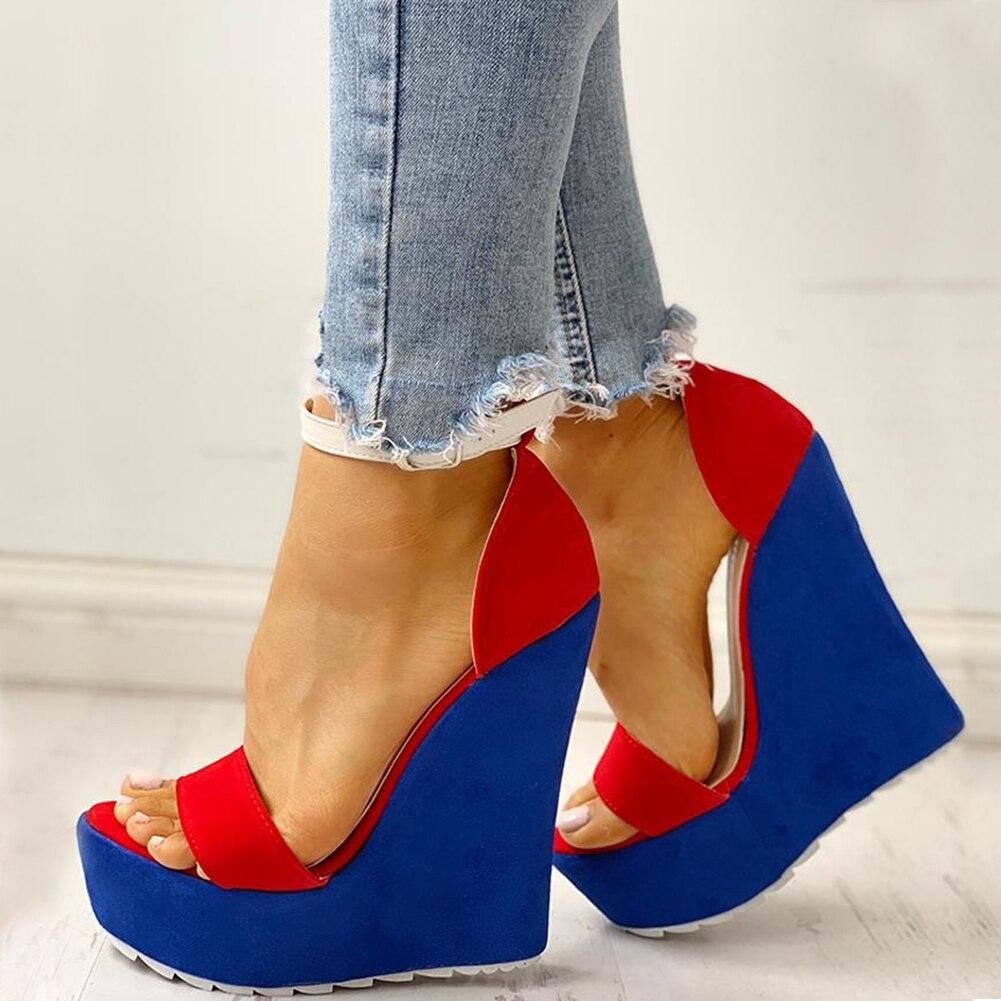 Verano Cuñas Sexy Calidad Ins Alta Rojo 2019 Sandalias Ocio Azul Fiesta Mujer Mujeres Zapatos A5q4L3Rj