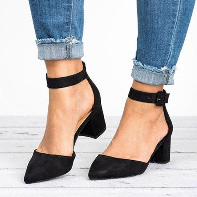 Kadın Sandalet 2019 Moda Düşük Topuklu Sandalet Yaz Ayakkabı Kadın Rahat Blok Topuk Zapatos Mujer Artı Boyutu 43 Sandale femme