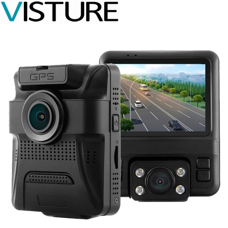 Car DVR Novatek 96655 Dual Camera Built in GPS Log Tracker Super HD Night Vision Dash Camera Car Video Recorder Visture GS65H junsun wifi car dvr camera video recorder registrator novatek 96655 imx 322 full hd 1080p dash cam for volkswagen golf 7 2015