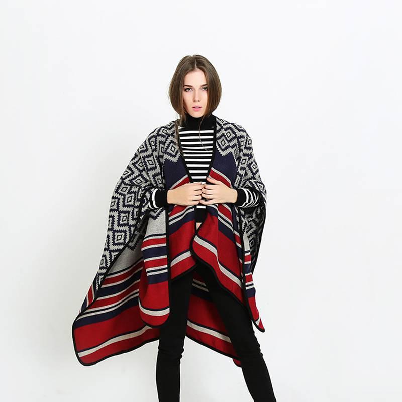 Winter Women Casual Rhombus Poncho Luxury Brand Blanket Scarf Femme font b Tartan b font Foulard