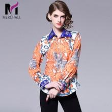 Merchall Runway Floral Print Blouse 2019 Spring Summer Women's Long Sleeve flower Casual Shirt Flower Print Tops Party Blusas