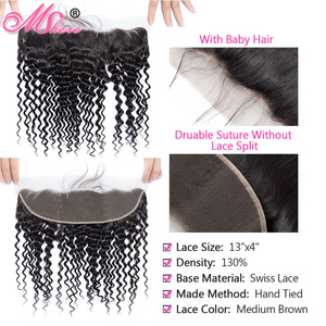 Image 3 - MsHere שיער 3 חבילות עם 13x4 תחרה פרונטאלית סגירה פרואני עמוק מתולתל גל צרור עם פרונטאלית ללא רמי שיער טבעי הרחבות