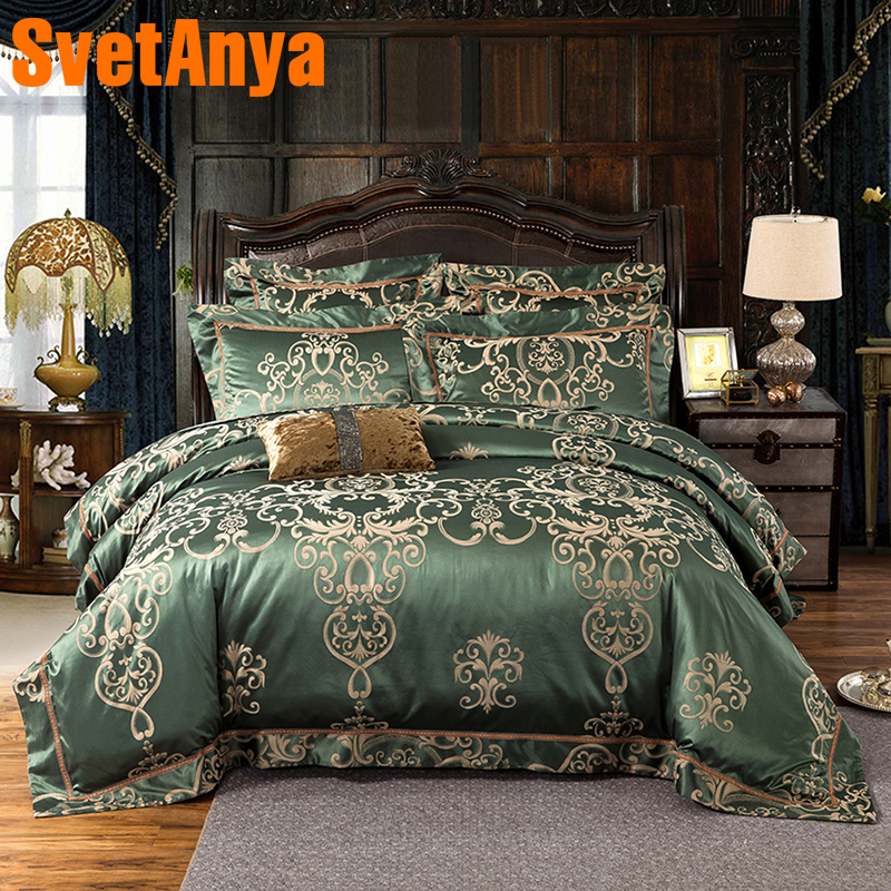 Svetanya jacquard 4pc 6pc Bedding Sets Queen Double King size Bed Linens (flat sheet + Pillowcase +Comforter Cover) green-in Bedding Sets from Home & Garden    1