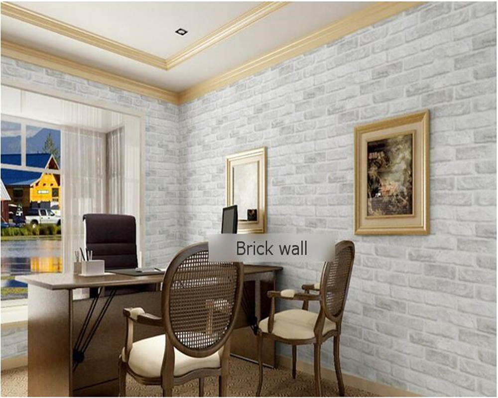beibehang Thicker 3D Stereo Gray Brick Barber Shop Retro Chinese Restaurant Bubble Foam Brick papel de parede Wallpaper tapety in Wallpapers from Home Improvement