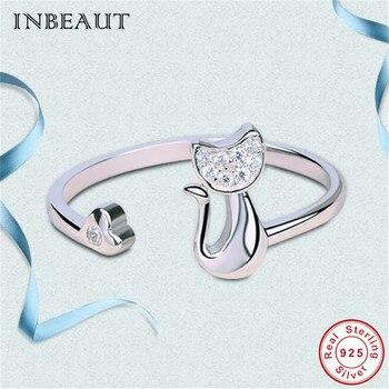 89f00ca02f77 INEBAUT lindo Pequeño anillo de gato para chicas adolescentes 925 plata  esterlina pequeño blanco Zirconia cúbica encantador Animal gatito anillos  de cóctel