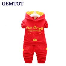 Boys Clothing Sets 2017 New Autumn Baby Cartoon Hooded T shirt Trousers Suit for Infant Chilren