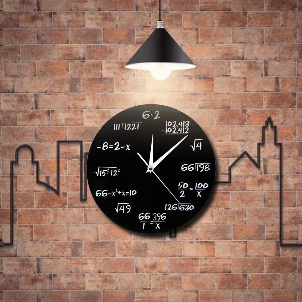 1 De pièce pièce Suspendus 3D Mur Horloges Pop Quiz Math 3D Mur Montres Saati Art Maison Horloge Pour Les Mathématiques Amant décoration Maison